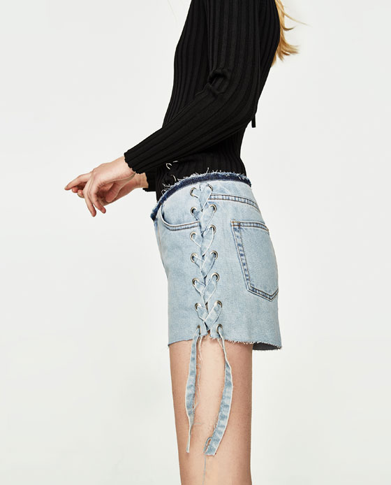 Short denim a lacets ZARA