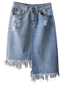 jupe denim effilochee