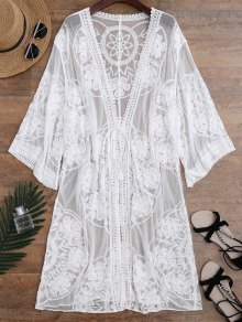 SheerSheer Lace Tie Front Kimono Cover Up